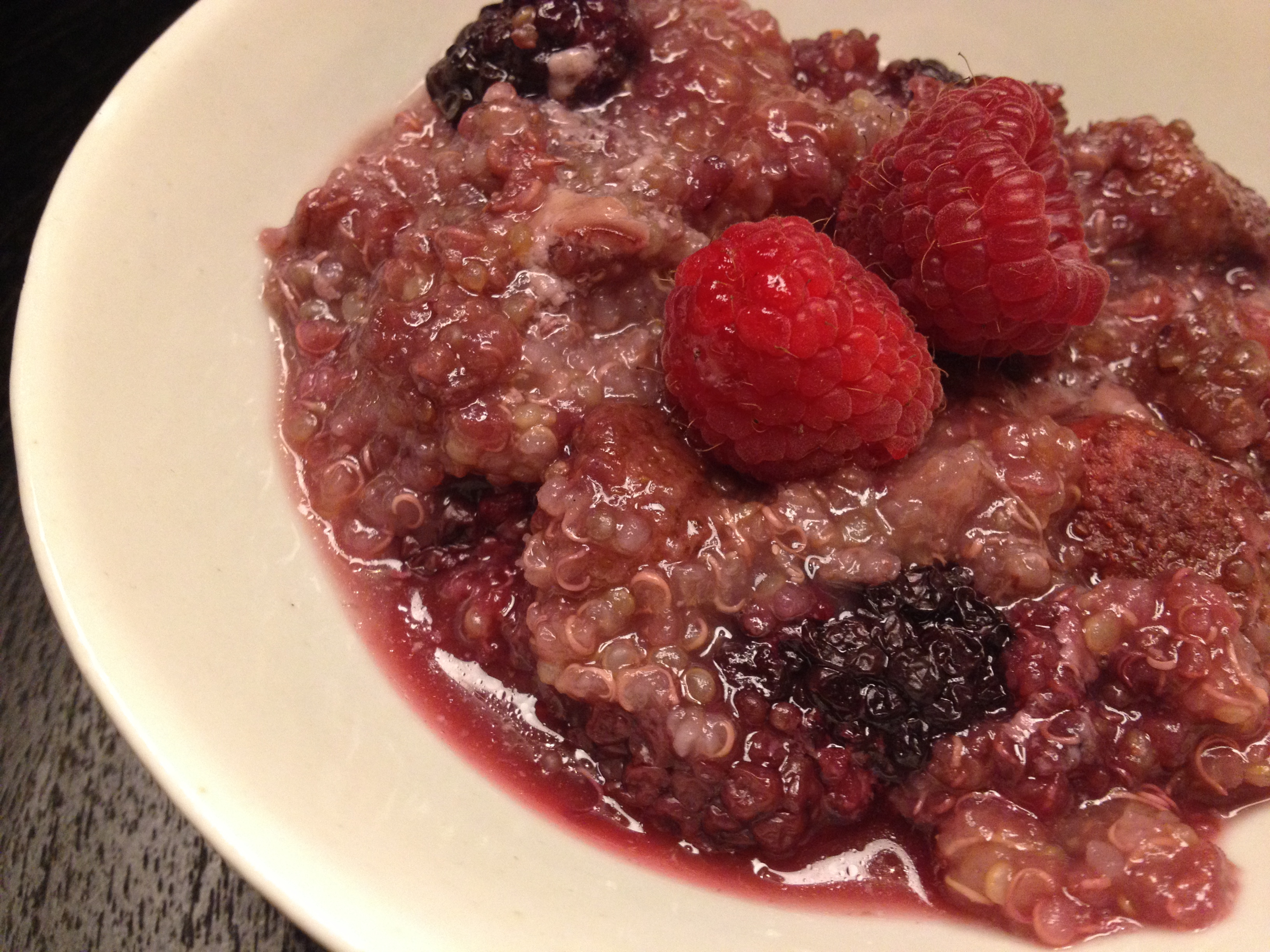 berries and cream quinoa breakfast porridge