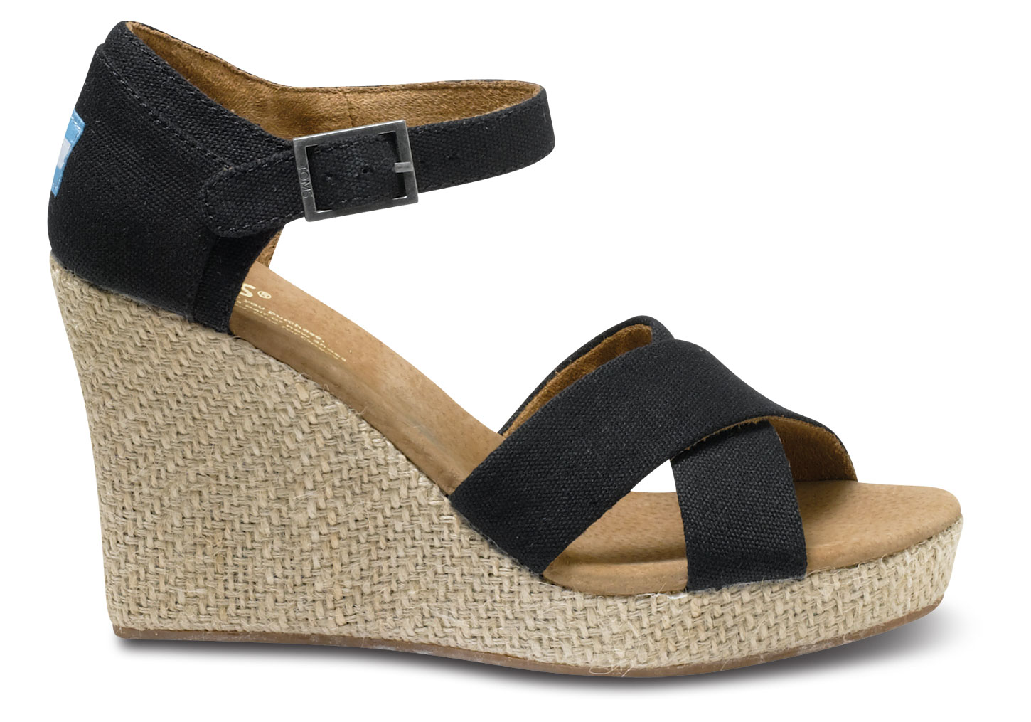 toms strappy wedge canvas