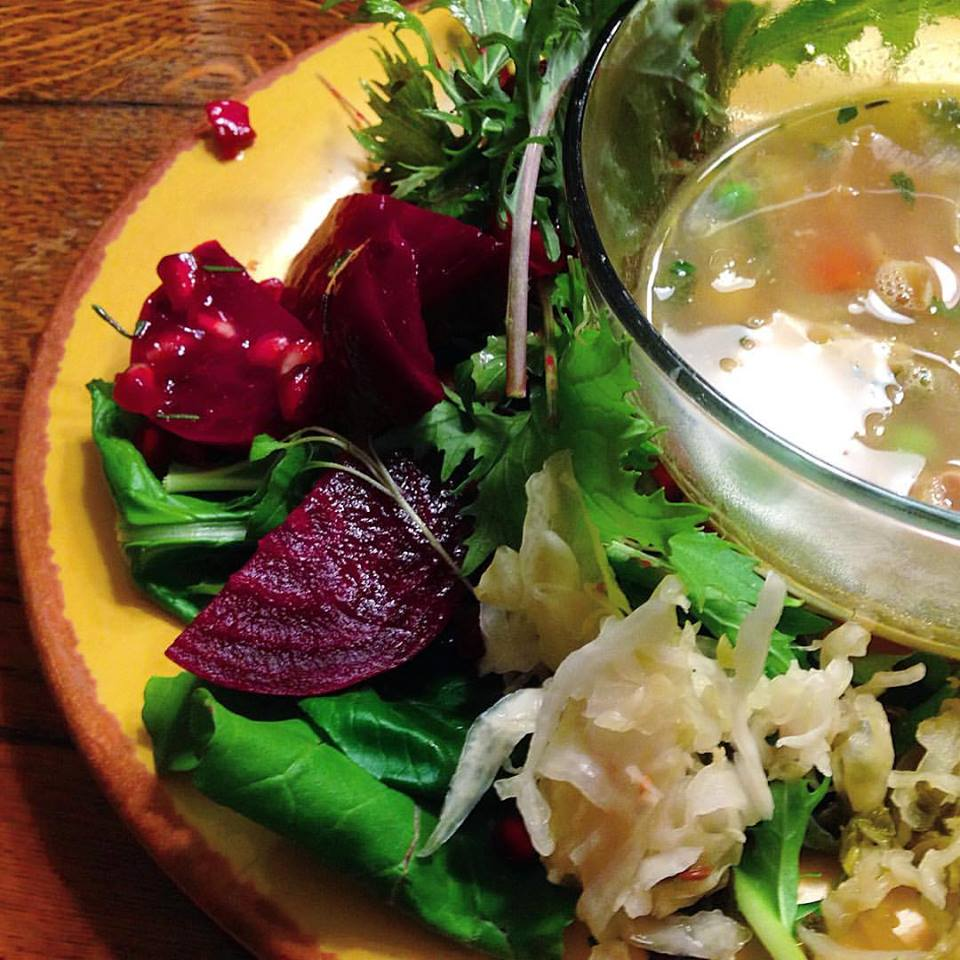 beet-salad-and-chicken-soup